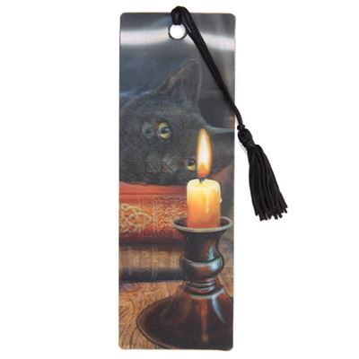 Black Cat & Candle 3D Bookmark by Lisa Parker